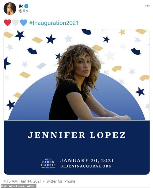 '# Inauguration 2021': Lopez will perform during the presidential swearing-in ceremony of Joe Biden from Washington DC's Capitol Building next Wednesday.