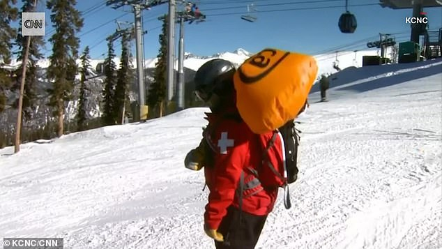 Kervin deployed an avalanche airbag which kept him on top of the tumbling snow, file photo