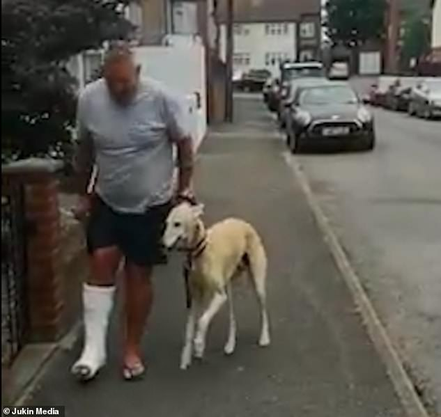 Bill the lurcher lifts his paw above the ground and imitates his owner Russell Jones, whose leg is in a plaster cast, out of sympathy