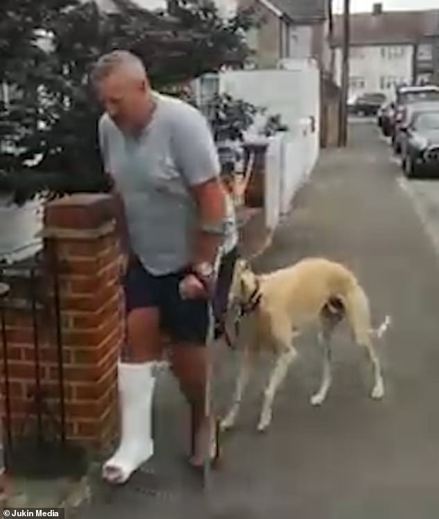 The dog continues to keep a watchful eye over his owner as he makes his way to his home