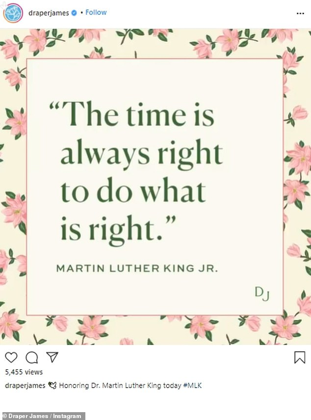 Floral inspired: Witherspoon's company Draper James wrote, 'The time is always right to do what is right.' Then shared, 'Honoring Dr. Martin Luther King today #MLK'