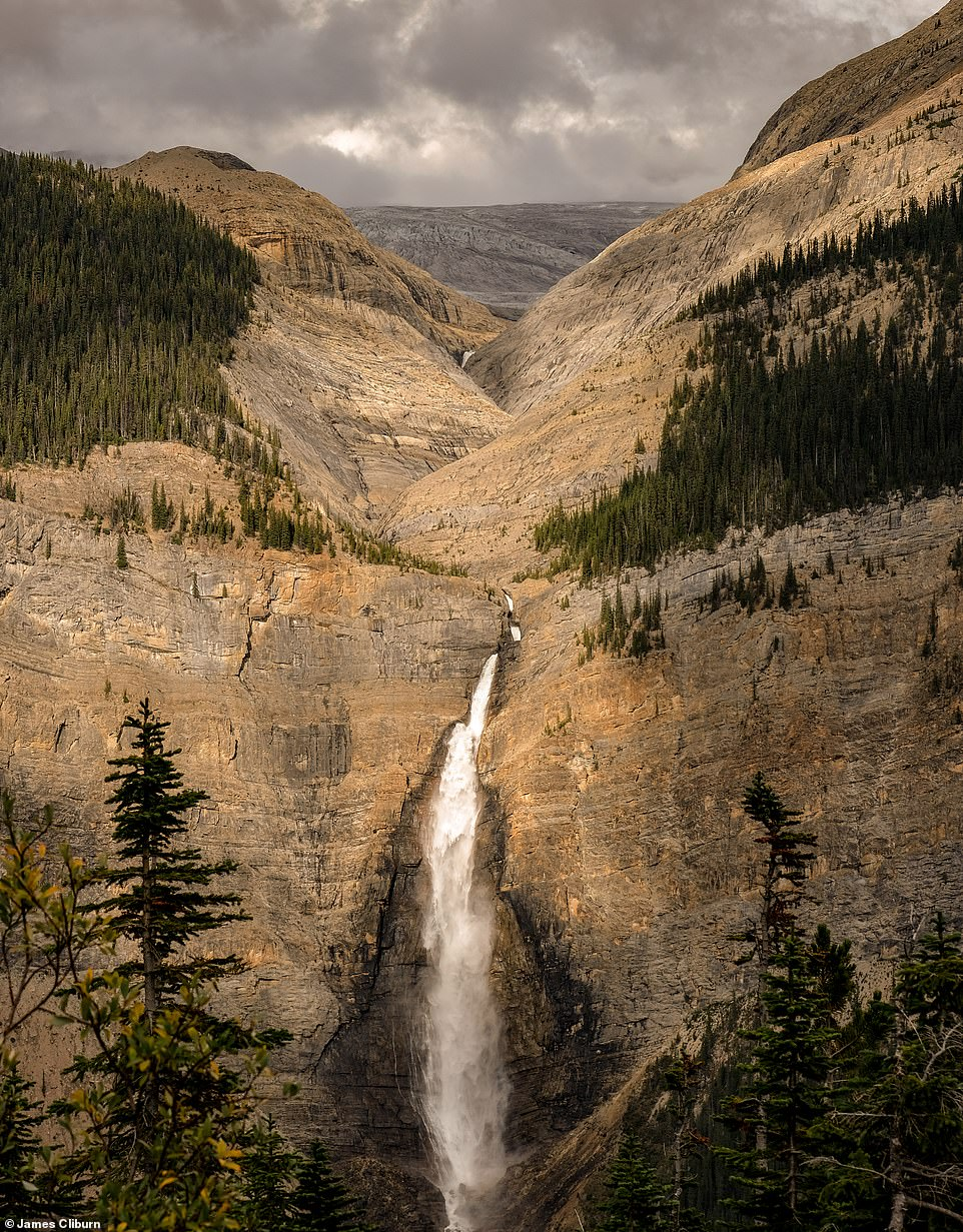 The stunning 1,246ft (380m) Takakkaw Falls - one of the tallest waterfalls in Canada - in Yoho National Park in British Columbia. James says that Yoho National Park is one of his favourite national parks in Canada
