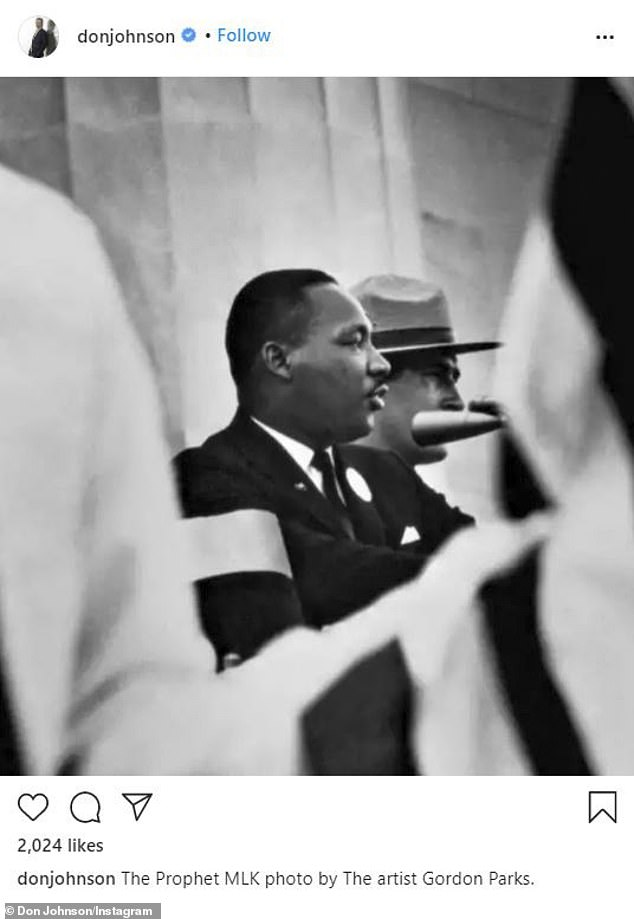 From Mr Miami Vice: Don Johnson posted a photo and said, 'The Prophet MLK photo by The artist Gordon Parks'