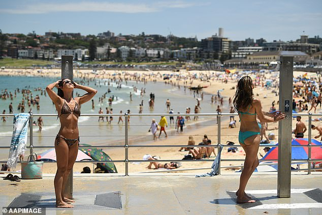 The beach will be a popular place for Sydneysiders to be on the weekend as temperatures soar. Pictured, Bondi Beach