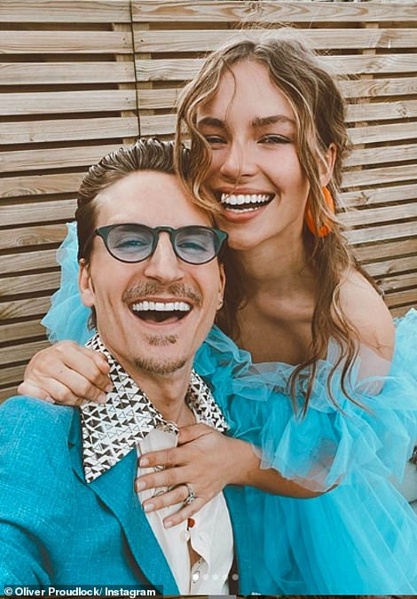Sweet:Oliver Proudlock and Emma Connolly ensured they marked the occasion as they held a romantic picnic in their garden on what would have been the eve of their big day