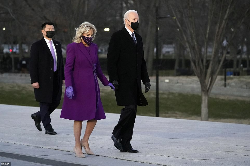 President-elect Joe Biden and his wife Jill are seen arriving for the memorial on Tuesday evening