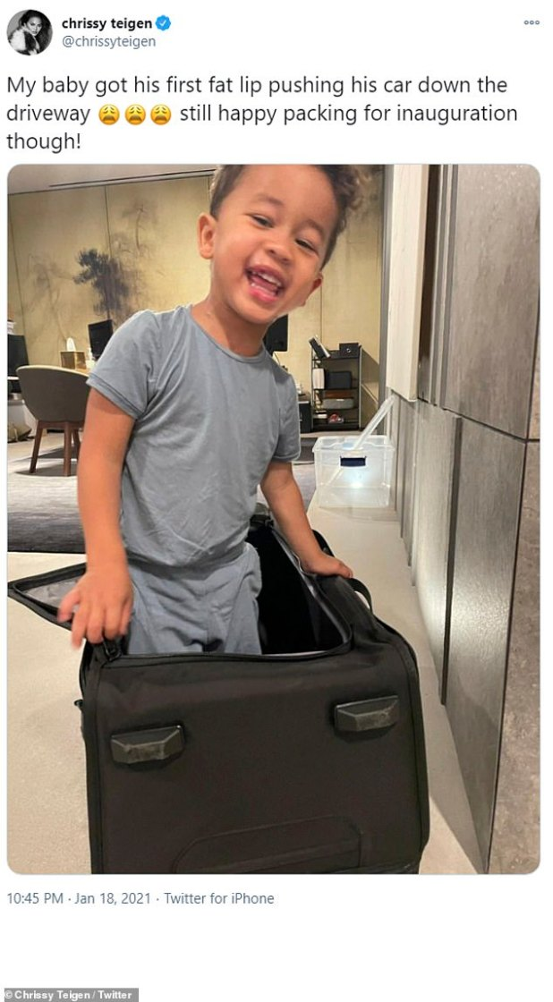 Cutie: Before moving to DC, Chrissy decided to upload a snapshot of her and John's two-year-old son Miles packing for their trip.
