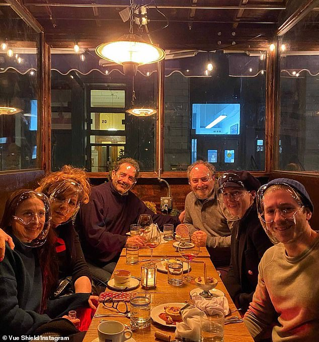'Family dinner': It was two days after the 30-year-old Emmy winner (L) reunited with (from 2L-R) Marin Hinkle, Caroline Aaron, Tony Shalhoub, Kevin Pollak, and Michael Zegen at Italian eatery Rezdôra