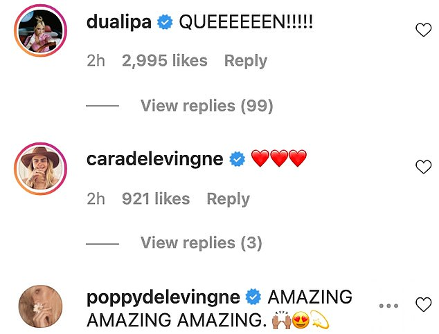 Fan club: Poppy Delevingne, wrote: 'AMAZING AMAZING AMAZING' and her sister Cara left a series of heart emojis underneath the clip
