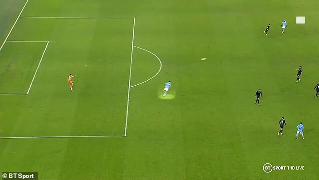 But Man City's Rodri was clearly in an offside position before he stole the ball off Tyrone Mings