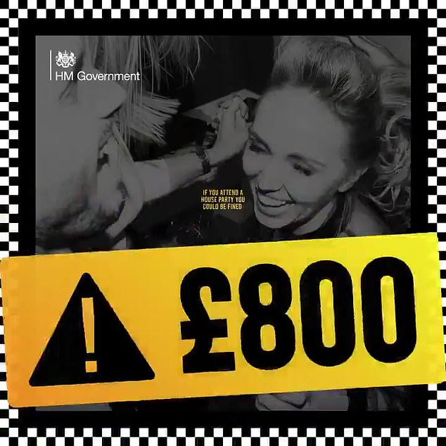 As part of the Home Secretary's new crackdown, adverts have been produced with an image of partygoers covered in yellow tape which warns of the £800 penalty