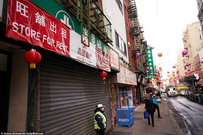 NEW YORK CITY:A vacant store is advertised for lease in Chinatown in New York City