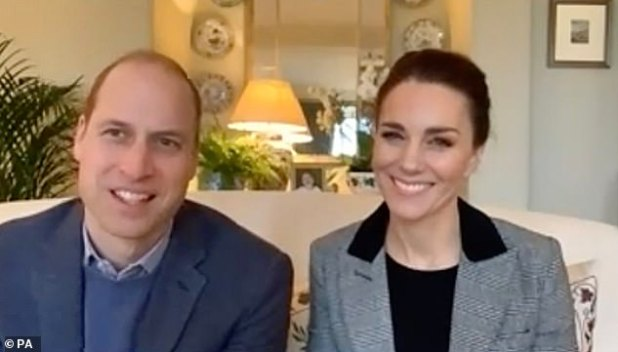 Fuss-free style: The Duchess of Cambridge pulled her hair back when she joined Prince William for a video call earlier this month (pic)