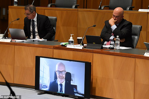 Facebook Public Policy Asia-Pacific Vice President Simon Milner appears via video link before a senate inquiry