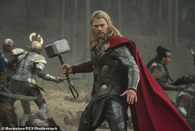 He's ready: Chris, who plays the hammer-wielding Norse god Thor in the Marvel franchise, jetted from his home in Byron Bay to Sydney on Wednesday ahead of filming