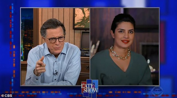 A nice chat: The actress, who was born in India and lives in LA, spoke to Stephen Colbert on Thursday evening