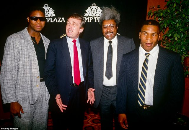 The Plaza was the site of many high-profile boxing matches, which Trump would regularly attend. He is pictured there in 1986 with boxing promoter Don King, to the immediate right of Trump, Mike Tyson (far right) and another unidentified boxer