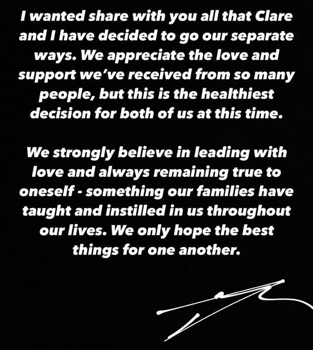 Healthiest decision: Moss wrote: 'I wanted to share with you all that Clare and I have decided to go our separate ways. We appreciate the love and support we've received from so many people, but this is the healthiest decision for both of us at this time'