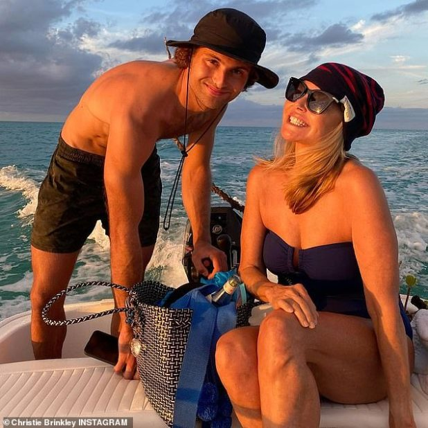 Proud Mum: She is sharing some great moments of her family journey with 22-year-old daughter Sailor Lee, her boyfriend Ben Sosne, son Jack Paris, 25, and his girlfriend Nina Agdal, 28.