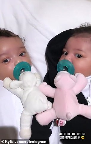 Babies: One was a video with one of Kim Kardashian's children when they were babies, most likely Chicago, and another was a clip of Stormi with her cousin True, Khloe's daughter.