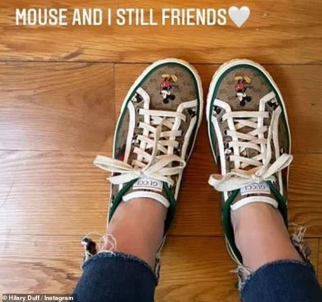 Still Friends: Duff is apparently still on good terms with Disney, recently posting a photo of his Mickey Mouse shoes in his Insta story and writing, `` Mouse and I still friends ''