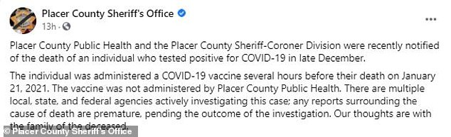 Their death was announced by the Placer County Sheriff's Office in a Saturday Facebook post, with the department adding that the incident remains under investigation