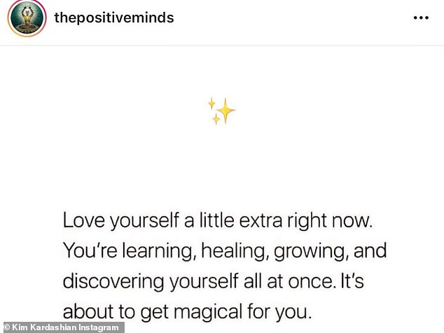 """The next slide said, """"Love yourself a little more now.  You learn, heal, grow and discover yourself all at the same time.  He's about to become magical for you"""