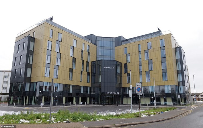 The Courtyard Hotel, owned by Marriott, stands empty as thousands of hotel rooms will be filled every day once the quarantine scheme comes in
