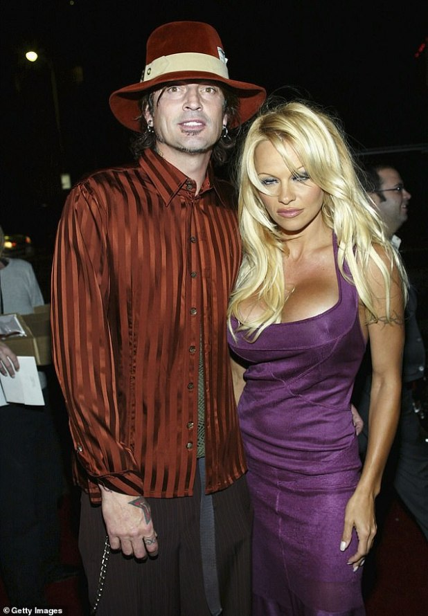 He made her heart beat!  Anderson once married drummer Tommy Lee, with whom she shares two sons (pictured 2003)