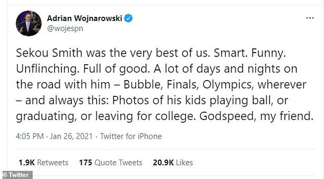 "The best: ""Sekou Smith was the best of us.  Clever.  Funny.  Unwavering.  Full of good.  Lots of days and nights on the road with him - Bubble, Finals, Olympics, anywhere - and always this: Pictures of his kids playing ball, or graduating or leaving for college.  Godspeed, my friend, '' Adrian Wojnarowski posted for his 4.5 million Twitter followers."