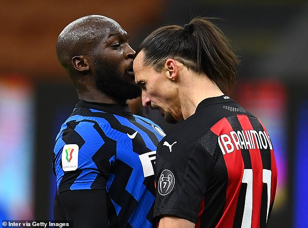 Lukaku and Ibrahimovic bumped heads during a fiery exchange in Tuesday's Coppa Italia tie