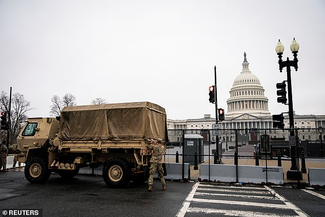 The day after inauguration, there was a mass exodus of troops from D.C. with more than half returning to their respective states – as Republican governors demanded they be sent home