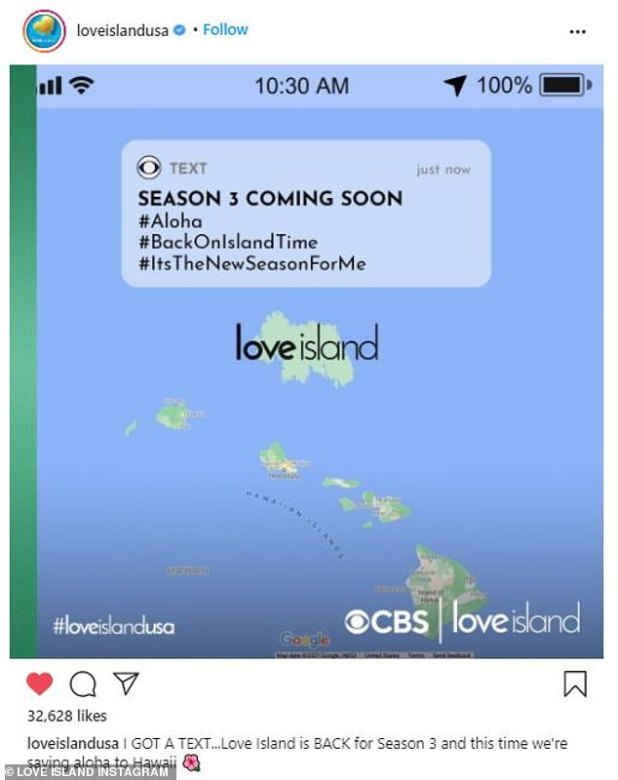 Tropical Paradise: 'I GOT A TEXT ... Love Island Back is for 3rd season and this time we're saying aloha to Hawaii,' the post read showing an image of Hawaii's Google Maps, plus a fake The island