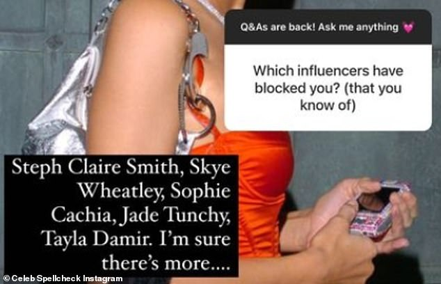 Blacklist: During an Instagram question-and-answer session in January, the account's mystery administrator - reportedly a Melbourne PR employee in her twenties - noted that Sophie Cachia, Steph Claire Smith, Jadé Tuncdoruk and Tayla Damir had blocked her.