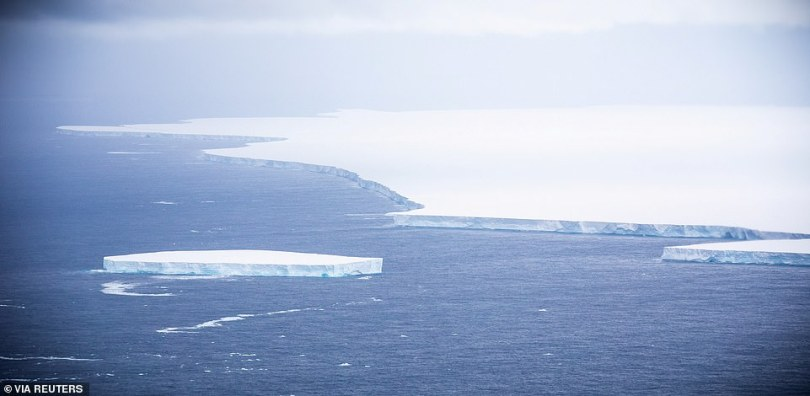 A view of the A68a iceberg from a Royal Air Force reconnaissance plane near South George island, November 18, 2020