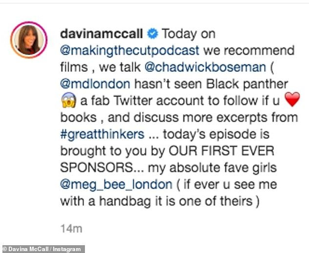 An update: The TV presenter has been promoting her Making The Cut podcast where she and Michael also discussed the knidness of late actor Chadwick Boseman