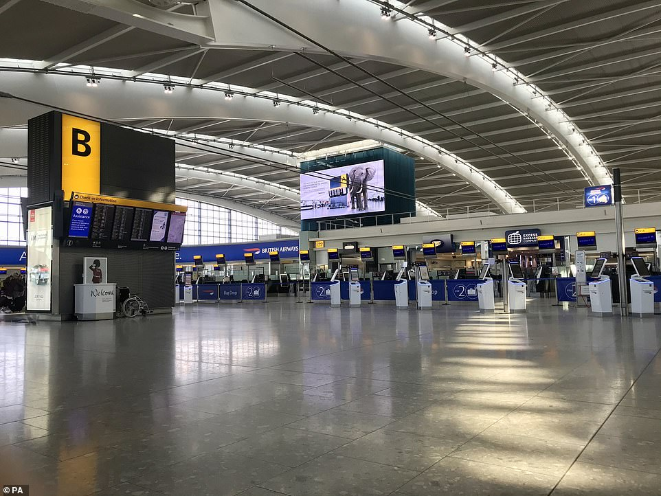LONDON: An empty departure area of Heathrow Airport's Terminal 5 at the start of the Covid-19 pandemic last March