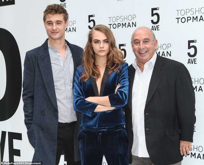 Max Irons, Cara Delevingne and Sir Philip for the Topshop Fifth Avenue store opening in New York in Novemeber 2014