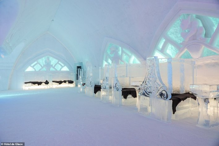 The incredible bar area atHôtel de Glace. It will remain in place until the end of March when temperatures begin to rise