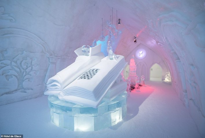 Inside the beautiful Grand Hall. According toHôtel de Glace, the theme of this year's ice hotel is 'Quebec tales and legends'