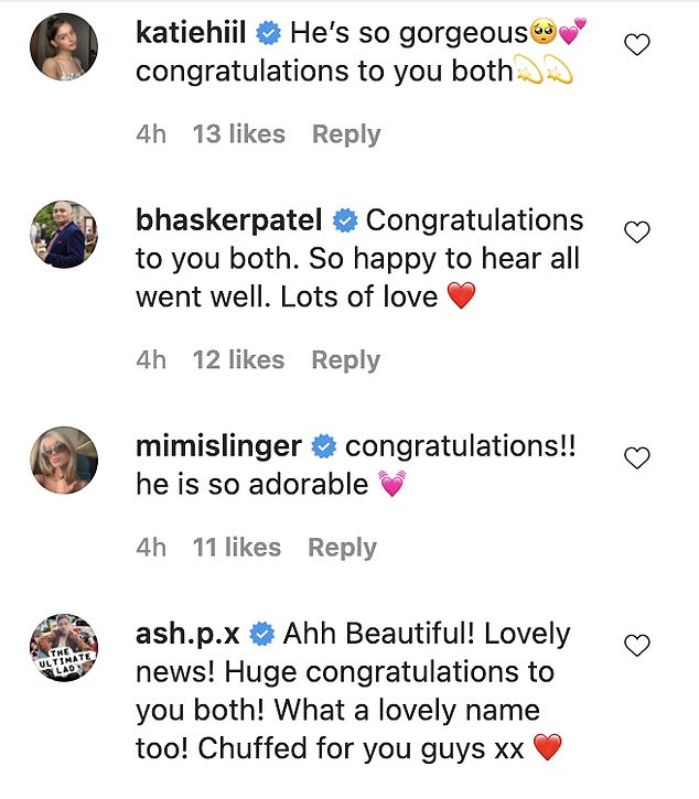 Support: Several of the new parents co-stars wished them well in the Instagram comments