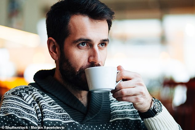 Researchers found that men who drink at least one coffee a day were 15 per cent less likely to lose their hearing (stock image)