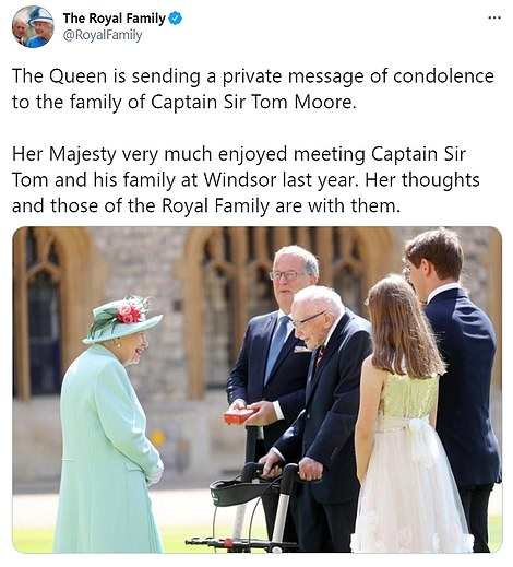 The Queen, who knighted Captain Tom in July, led tributes to the great man, who died at the age of 100 yesterday, his daughters announced