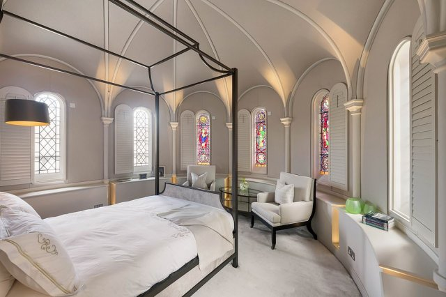 The house boasts five bedrooms, with stain-glassed windows and vaulted ceilings. The former chapel's bell tower has been converted to accommodate a lift that arrives at all five floors. The master bedroom also has a his-and-hers dressing room double the size of most people¿s living rooms