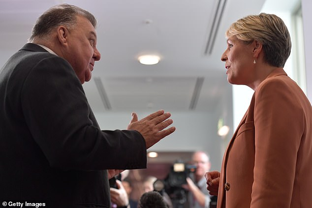 Mr Kelly (left with Labor frontbencher Tanya Plibersek) has insisted he is not an anti-vaxer but has cast doubt on the safety of Covid-19 vaccines