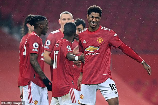 Marcus Rashford (right) scored against Southampton to pass Eric Cantona in the record books