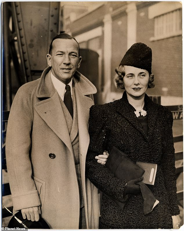 Doris with Mr Noel Coward, one of her conquests, arriving at Southamptom from American in the 1930s