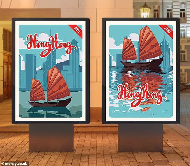Researchers with money.co.uk have produced travel posters imagining the impact of dramatic sea level rise on famous destinations, like Hong Kong (pictured). While the wetter vistas they have dreamed up are exaggerated (Hong Kong will likely see only 2–4.3 feet of sea level rise, rather than that depicted) the art highlights the plight faced by many coastal areas