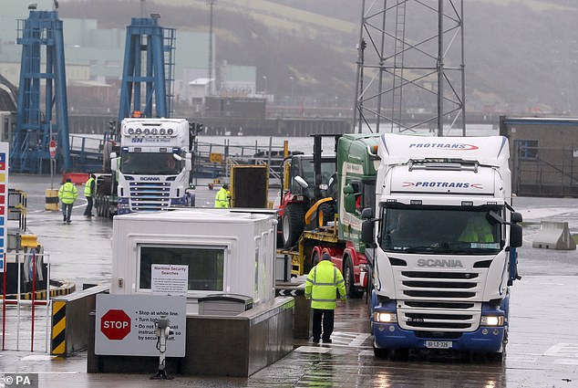 UK Border Force officials check goods coming into Larne Port in Northern Ireland from GB