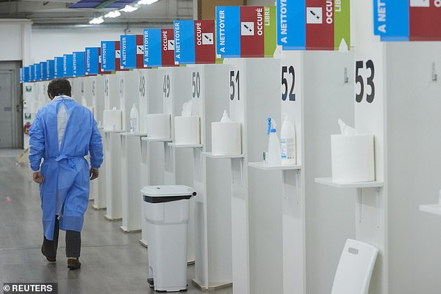 The Swissmedic regulatory authority said it had been examining information from the pharmaceutical giant but that was 'not yet sufficient to permit authorisation'. Pictured: Vaccination centre in Geneva